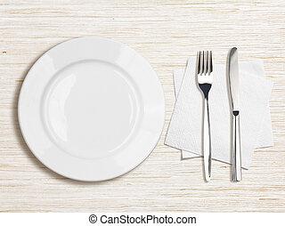 branca, prato, faca, garfo, guardanapo, topo, vista,...