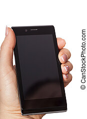 Woman's hand with smartphone - Woman's hand with black new...