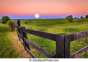 Moonrise - Scenic moonrise in the Bluegrass region of...