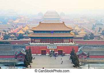 An aerial bird view of the Forbidden City. - An aerial bird...