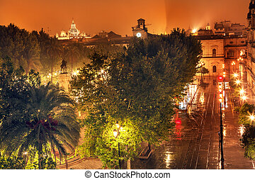 Plaza Nueva Ferdinand Statue Rainy Night Church El Salvador...