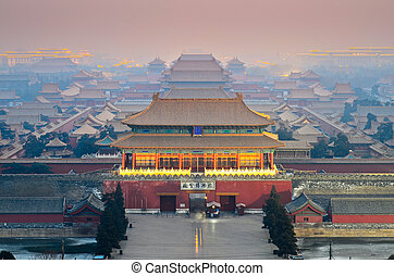 An aerial bird view of the Forbidden City