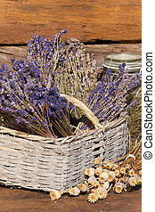Basket filled with dried lavender bunches