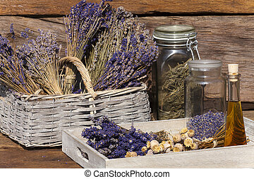 Dried lavender bunches and dried poppy capsules