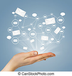 Hand and contacts. The concept of global contacts