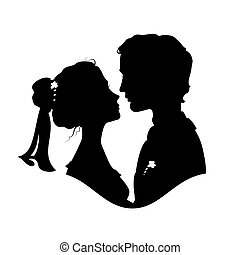 Silhouettes of bride and groom Black against white...