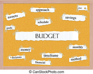 Budget Corkboard Word Concept with great terms such as...