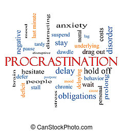 Procrastination Word Cloud Concept with great terms such as...