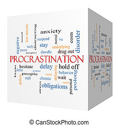 Procrastination 3D cube Word Cloud Concept with great terms...