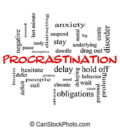 Procrastination Word Cloud Concept in red caps with great...