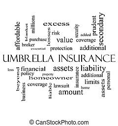 Umbrella Insurance Word Cloud Concept in black and white...
