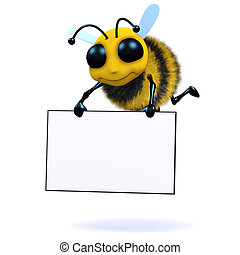 3d Bee holds a banner - 3d render of a bee carrying a banner
