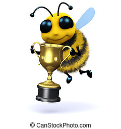 3d Bee champion - 3d render of a bee holding a gold cup
