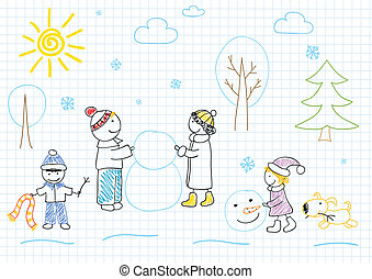 Happy family sculpts snowman Childrens drawing
