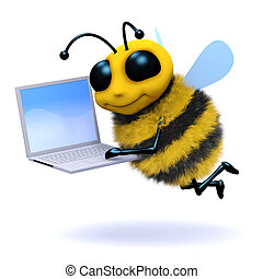 3d Bee laptop - 3d render of a bee with a laptop