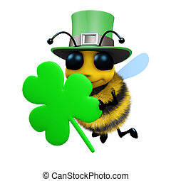 3d St Patricks day bee - 3d render of a bee celebrating St...