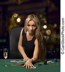 girl in the casino playing poker, bokeh