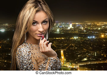 girl on city background with casino chips