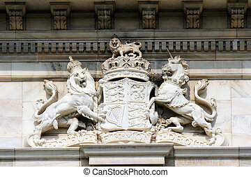 British royal coat of arms on the Victoria Memorial in...