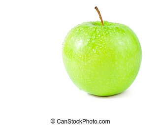 green apple with droplets of water isolated on white