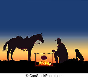 herdsman - Shepherd boiled tea beside a horse and dog
