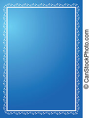 blue vertical frame with ornament - vector blue vertical...