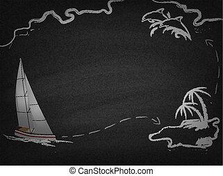 Yacht in ocean drawn on blackboard