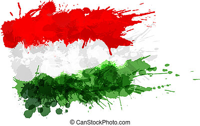 Hungarian flag made of colorful splashes