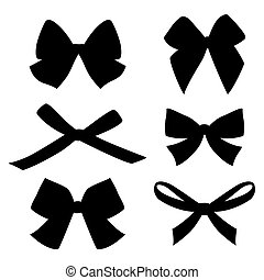 Set of vintage bows. Vector.