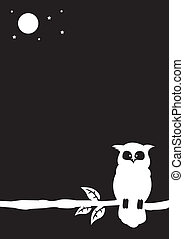 Owl illustration - Black and white illustration of an owl...