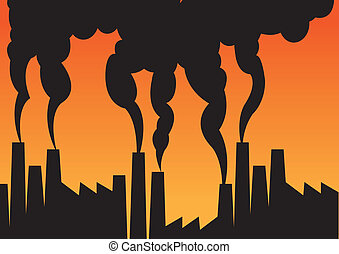 Air pollution of factories with chimneys against the sky....
