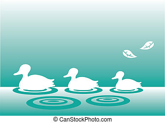 Family of silhouette ducks - A family of silhouette ducks...