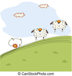 two cheerful sheep jumping on grass, vector illustration