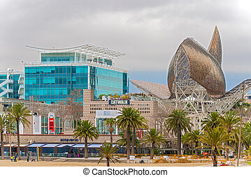 Fish sculpture of Barcelona - Barcelona, Spain: January 25,...