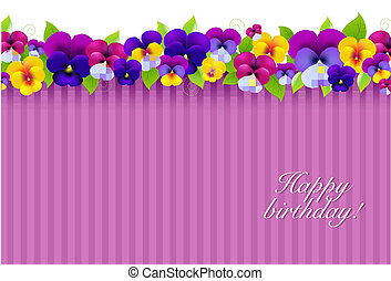 Background With Color Pansies, With Gradient Mesh, Vector...