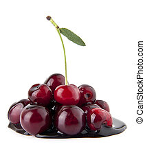 chocolate cherry on a white background