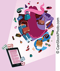 online shop for women - illustration of online shop for...