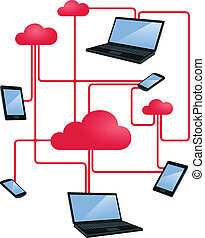 cloud networking - illustration of internet cloud networking...