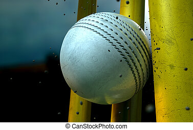 White Cricket Ball And Wickets - A white leather stitched...