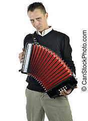 young man playing the accordion