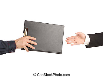 Hand giving a folder. On a white background.