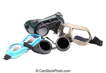 Set of protective glasses Isolated on a white background