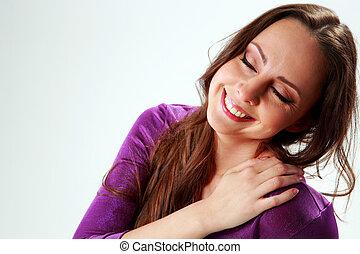 Retrato, sorrindo, mulher, encerramento, olhos, sobre,...