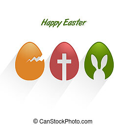 Easter decorative eggs with long shadow on white