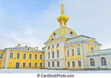 Big Palace in Peterhof, winter view, cold dome with double...