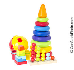 Children's toys isolated on white background