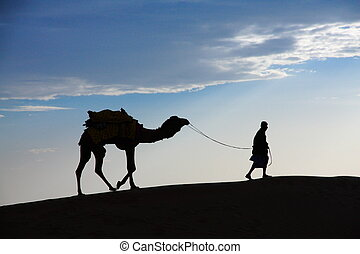 A desert local walks a camel through Thar Desert - A desert...