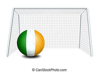 A ball near the net with the Ireland Flag