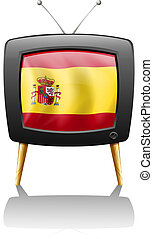A TV with the flag of Spain - Illustration of a TV with the...