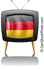 A German flag inside a television - Illustration of a German...
